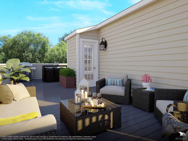 rendering of a modern rooftop deck complete with furniture