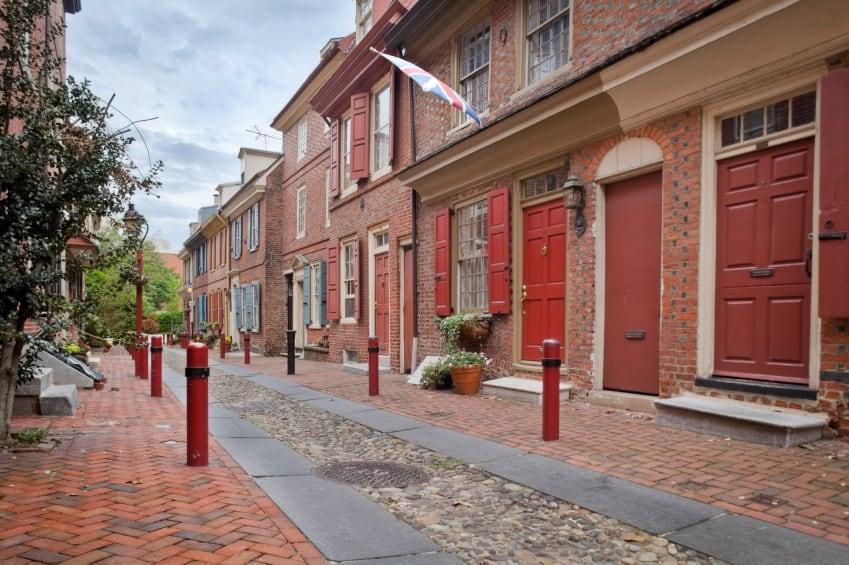 Historic paved street in Philadelphia.