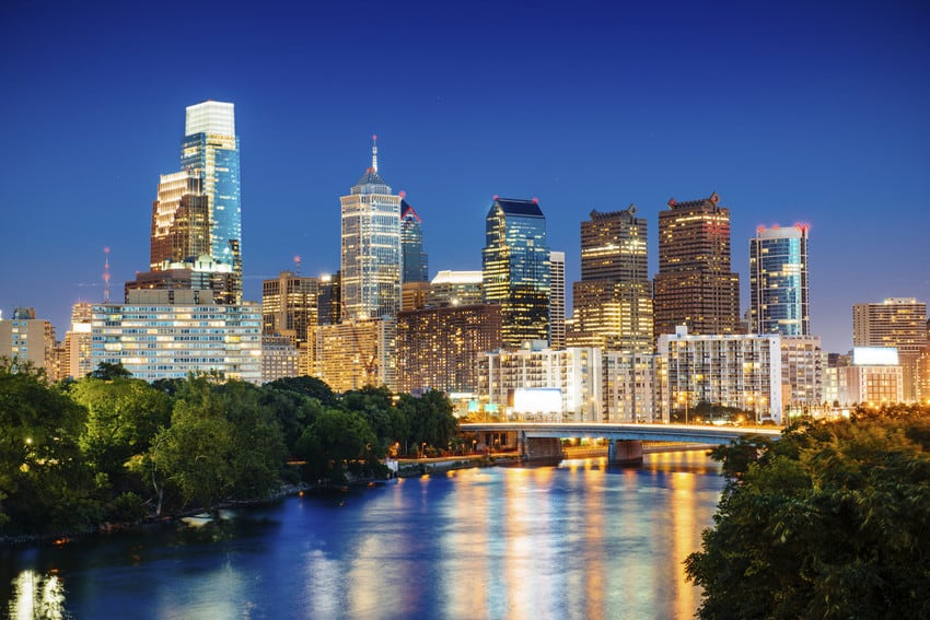 Philadelphia skyline with lights.