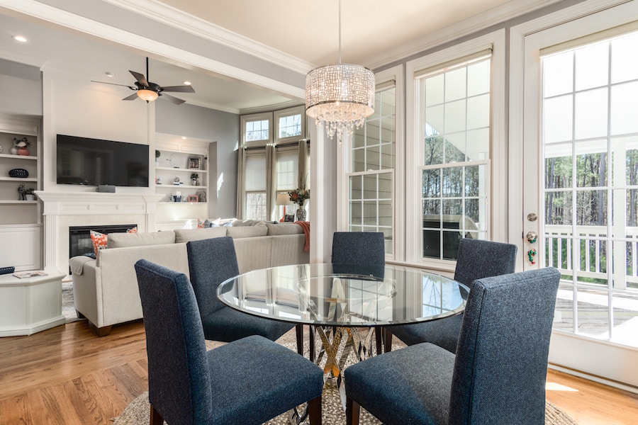 Suburban living and dining room in one of the top Philly communities
