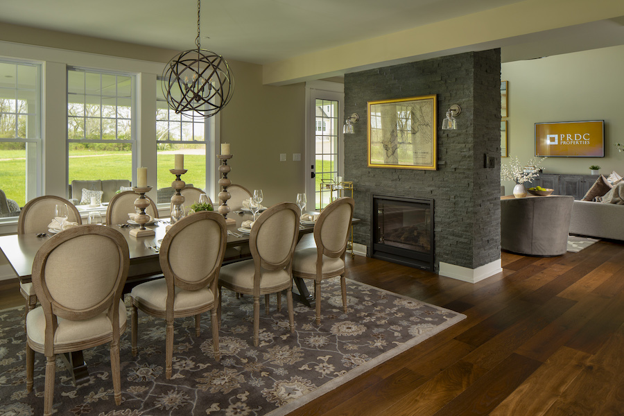 The living room and dining room of a home in Julius Farms.